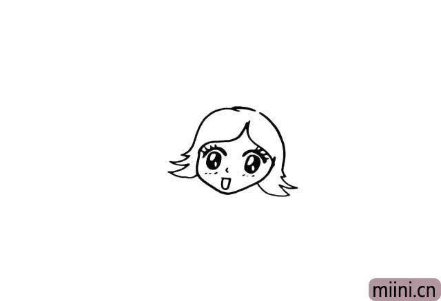 5.接下来我们画出她的头发.她的头发是短短的。
