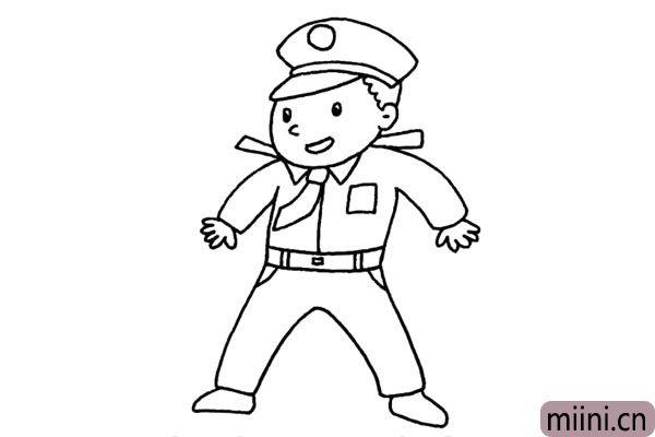 维护治安的警察叔叔简笔画步骤教程
