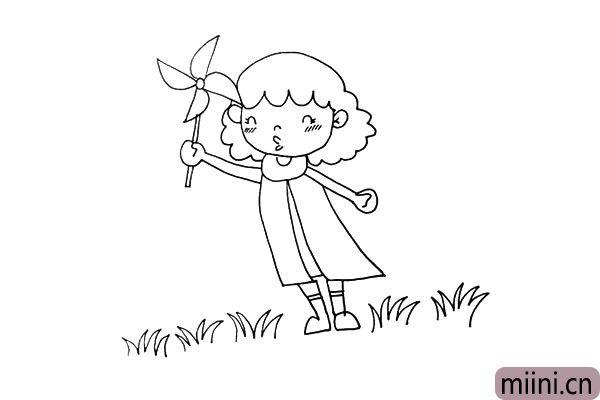 第十四步:再用弧线组成的锯齿状来画出小女孩身边的小草。
