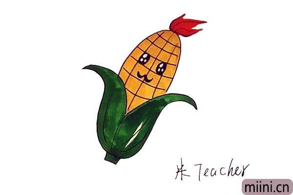 卡通玉米简笔画步骤教程