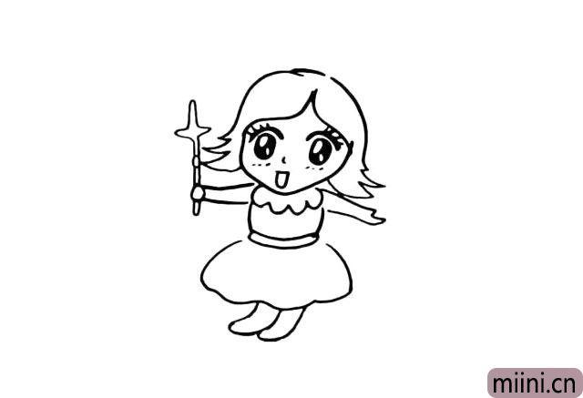 10.然后我们在把她的腿部给画出来。