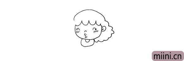 第六步:在她的头部下方用二条向上的弧线画出她的衣领。