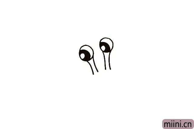 3.在画出蜗牛的触角.它的眼睛是长在触角上的。