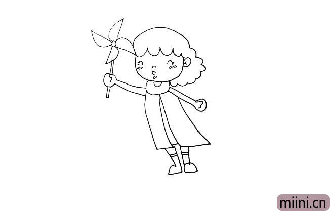第十二步:她手里握着一个风车。