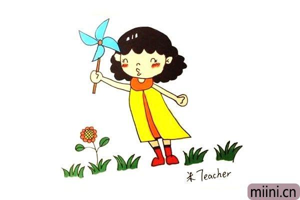 玩风车的小女孩简笔画步骤教程