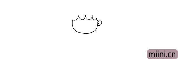 第二步:用波浪线画出她的刘海.再画出它的耳朵和耳廓。