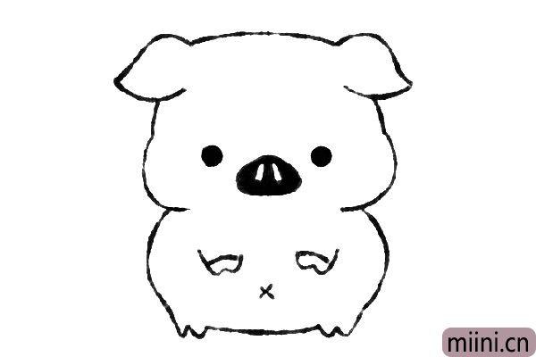 5.然后画小猪的眼睛鼻子和肚脐。