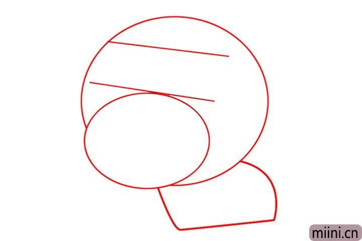 1.先用铅笔画出小猪头部、五官和身体的引导线。