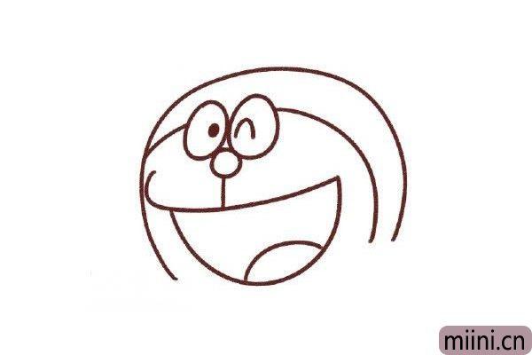 4.鼻子下面引出一条线,再从脸的左边勾画出它的大嘴巴,靠右加上舌头(五官一定要看清楚相对位置哦)