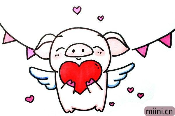抱着爱心的小猪天使简笔画步骤教程