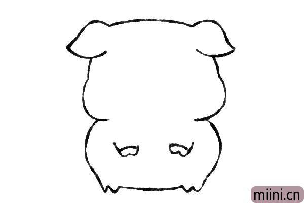 4.接着画出小猪的双手。