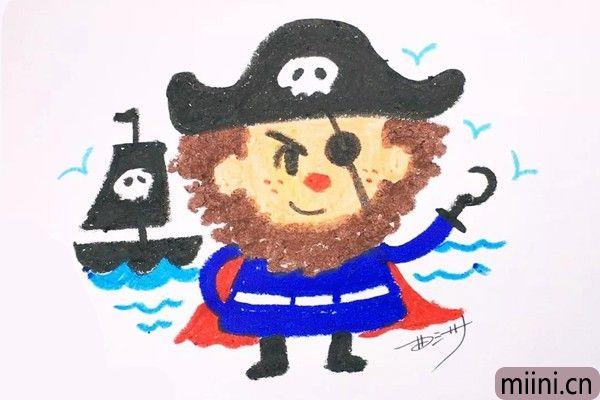 5.在远处的背景中,画出一些海水的波纹和一艘海盗船,当然,你还可以把背景画的更加丰富。