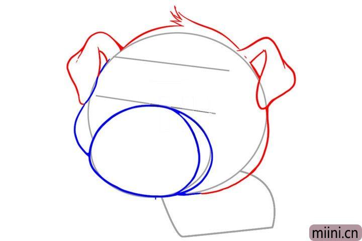 3.接着勾画出小猪的耳朵和头部轮廓。
