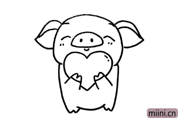 5.画小猪大大的耳朵。
