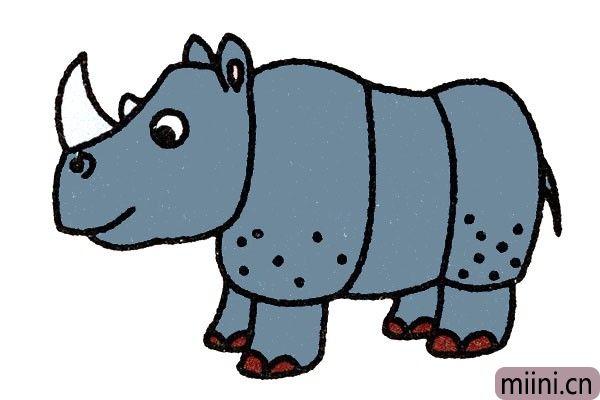 6.最后一步给犀牛填色颜色。