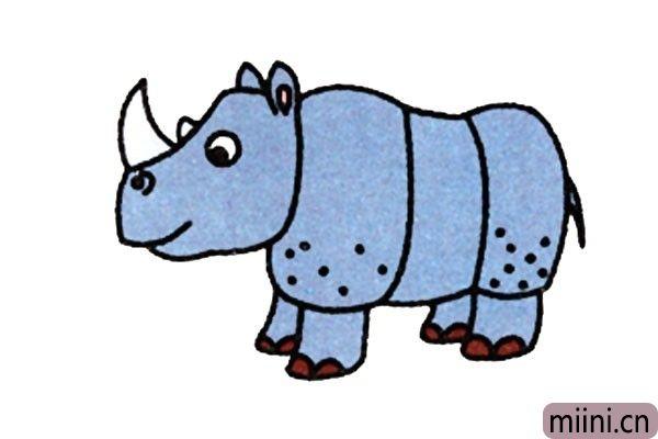 体强力壮的犀牛简笔画步骤教程