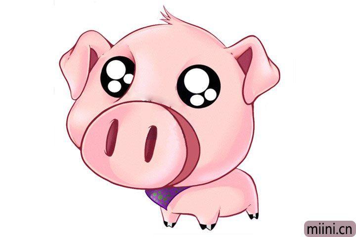 两眼泪汪汪的小猪简笔画步骤教程
