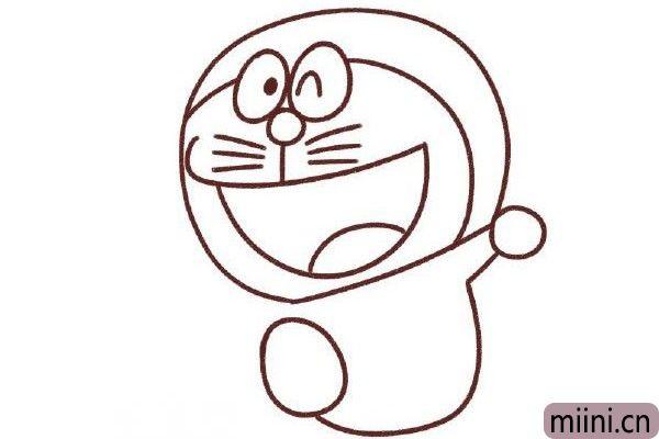 6.从右边的球起笔,画一条弯勾,再画一只椭圆球。