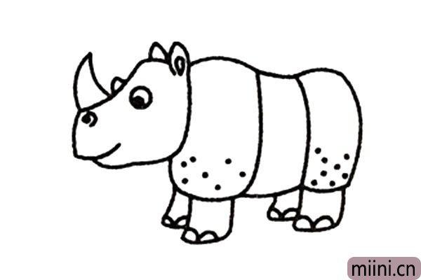 4.接着画犀牛粗壮的四肢。