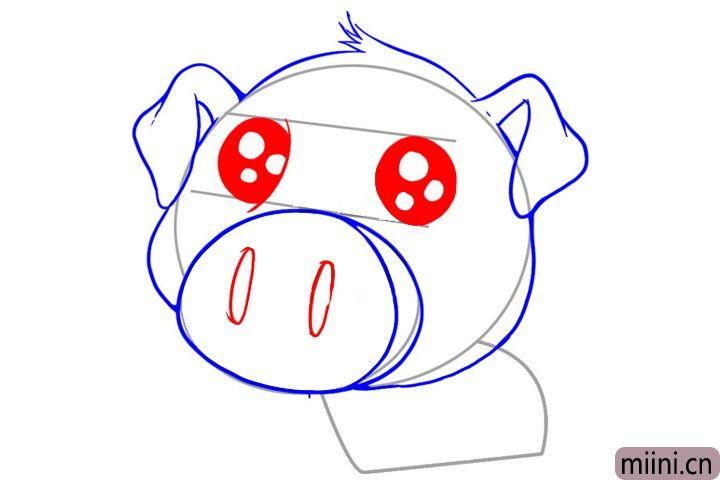 4.然后给小猪画上鼻子和眼睛。