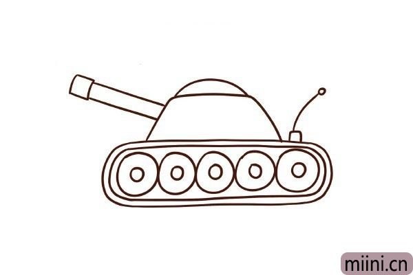 6.前面画上大炮,后面画上接受信号的天线。