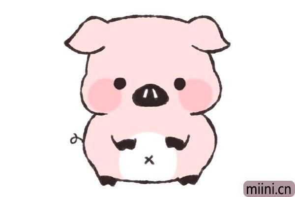 站着的小猪简笔画步骤教程