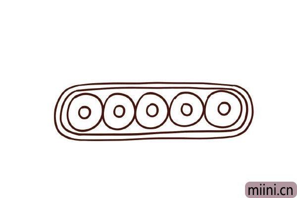 4.在外围画上一圈,作为履带的厚度。