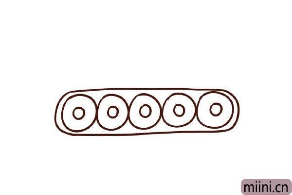 3.左右用圆弧包起来,里面画上小圆圈。