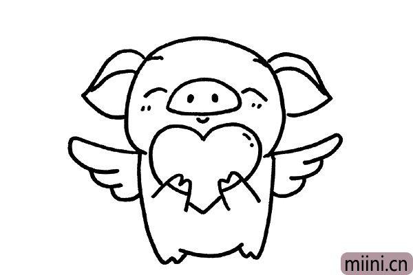 6.给小猪画上一对天使翅膀。