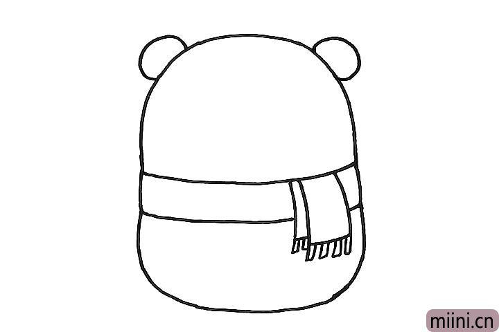 4.接着给小熊画上两只耳朵。