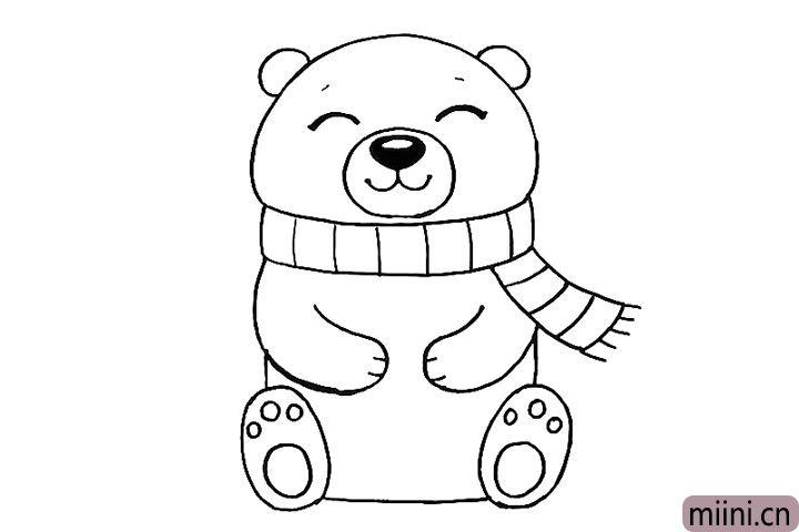 9.给北极熊的双脚画上掌纹。