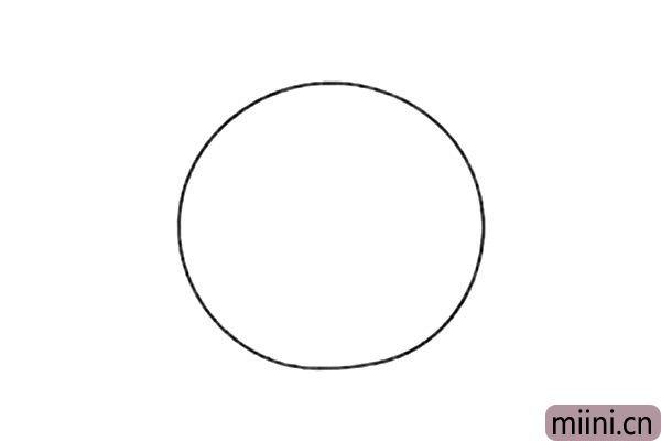 1.线画一个圆圈,作为小猪的身体。