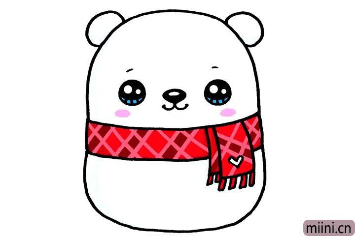带围巾的北极熊娃娃简笔画步骤教程