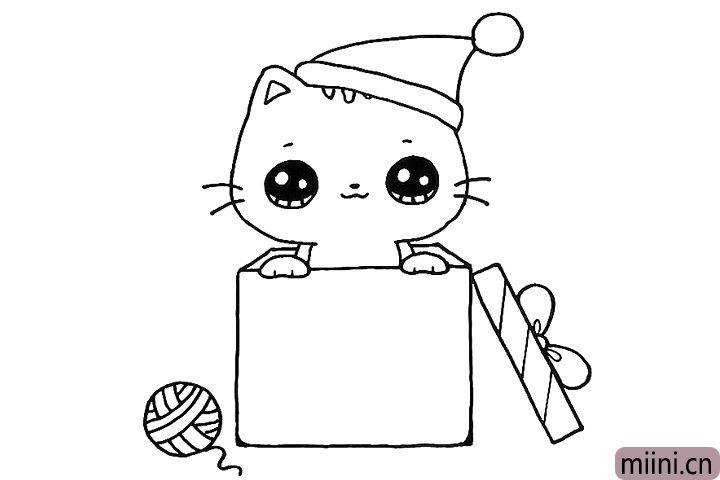 9.在盒子左边画一个毛线球作装饰。