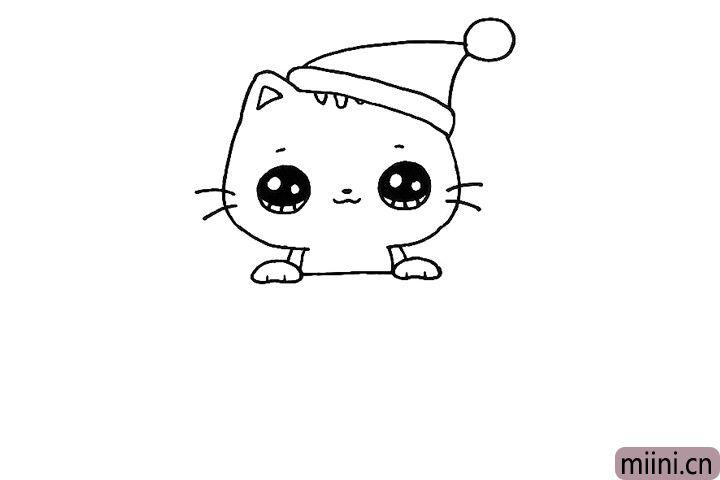6.画出小猫搭在盒子上的前脚。