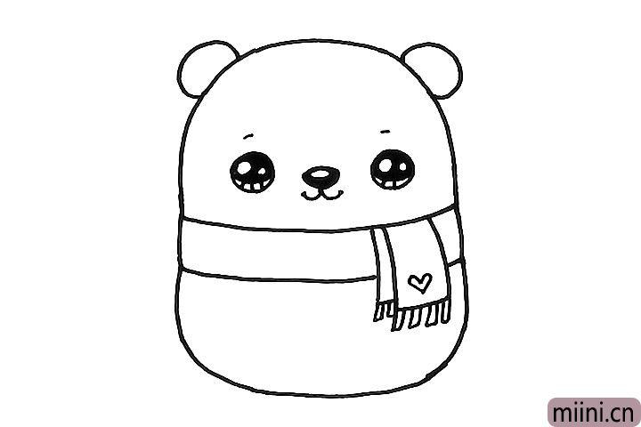 5.画出小熊可爱的五官和围巾上的爱心装饰。