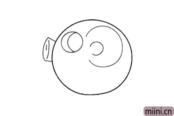 4.接下来画小猪大大的鼻子。