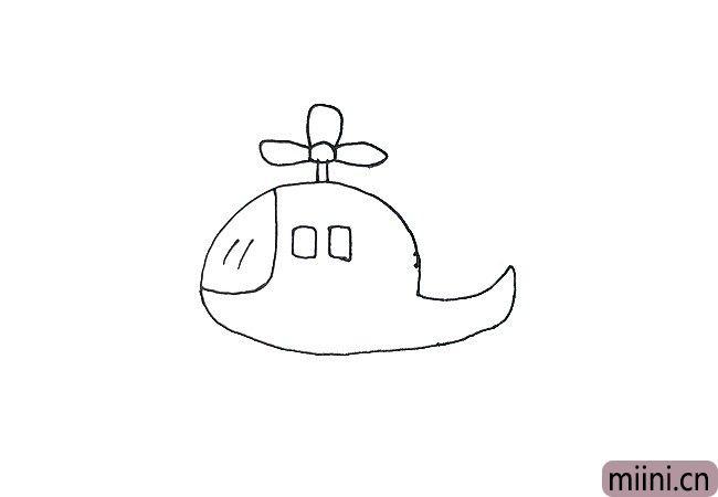 4.画直升机的螺旋桨,可以看到下面的三个小图,先画两根线的连杆,再画上面的小圆,最后把三只扇页画上,注意因物体远近的关系,上面那只螺旋桨要比另外两短一些哦,这样我们直接升的螺旋桨就完成了。