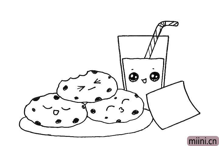 8.给牛奶也画上可爱的表情。