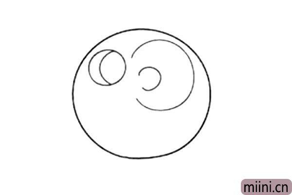 3.两条曲线,画出小猪的大耳朵。