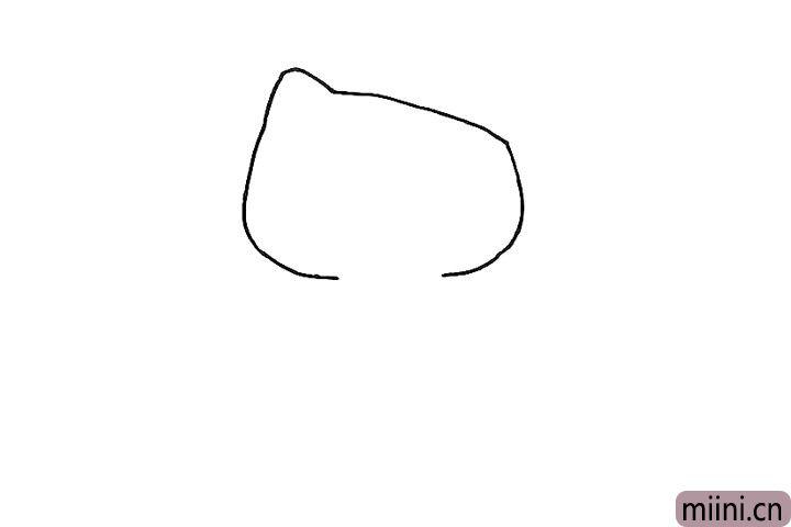 2.接着画出小猫的脸部轮廓。