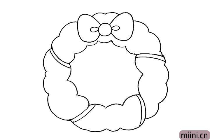 4.在花环上画四截彩带。