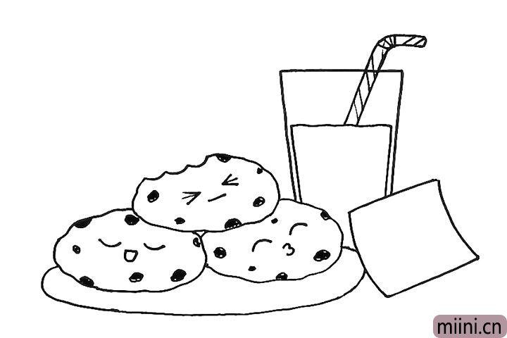 7.给三块饼干画些坚果。