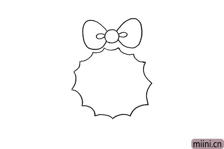 2.接着在顶部画出一个蝴蝶结。