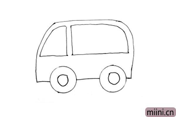 3.接下来画前后车窗。这个时候我们救护车的整体形状已经出来啦。