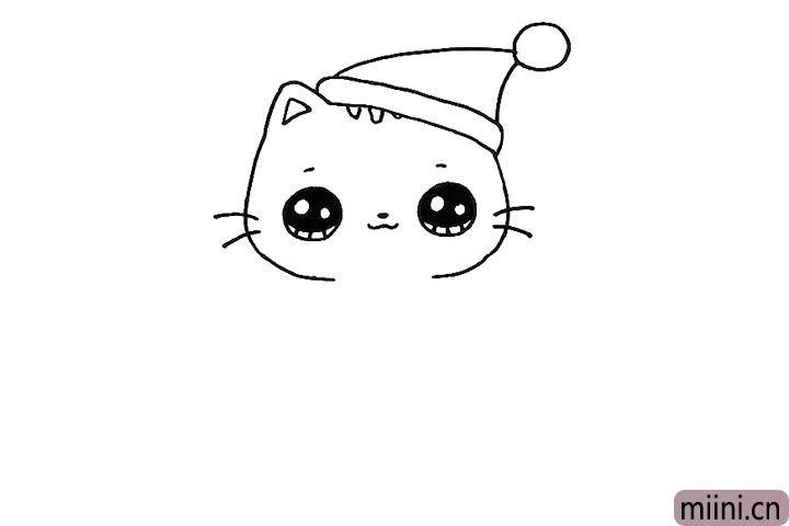 5.画出小猫的眼睛鼻子嘴巴和胡须,别忘了头顶的花纹。