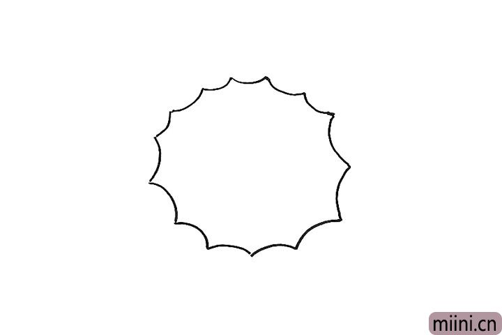1.画一圈向内的波浪线。