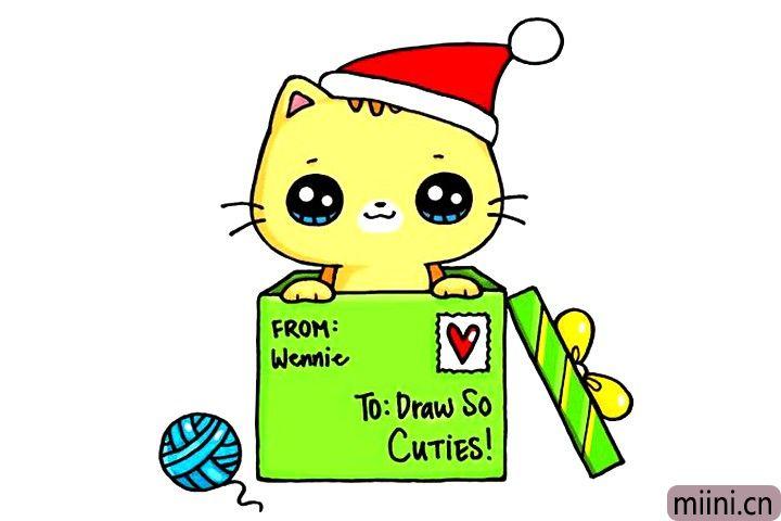 圣诞礼物小猫简笔画步骤教程