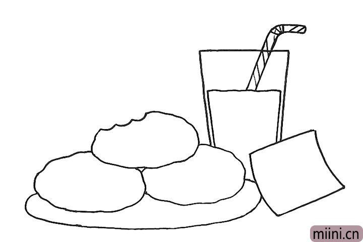 5.画出中间的杯子和杯子里面的牛奶和吸管。