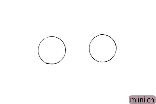 1.画车子的时候,首先我们要把车轱辘画出来,如果觉得自己画的轮胎不够圆,可以用硬币来画,这样可以画出非常标准的圆形。